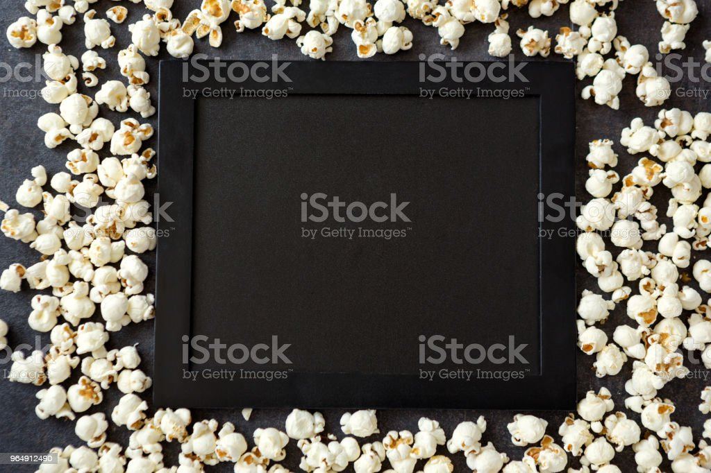 popcorn with black board -copy space royalty-free stock photo