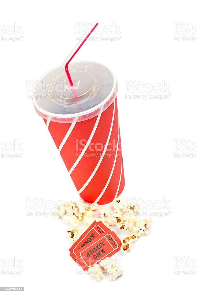 Popcorns, tickets and soda stock photo