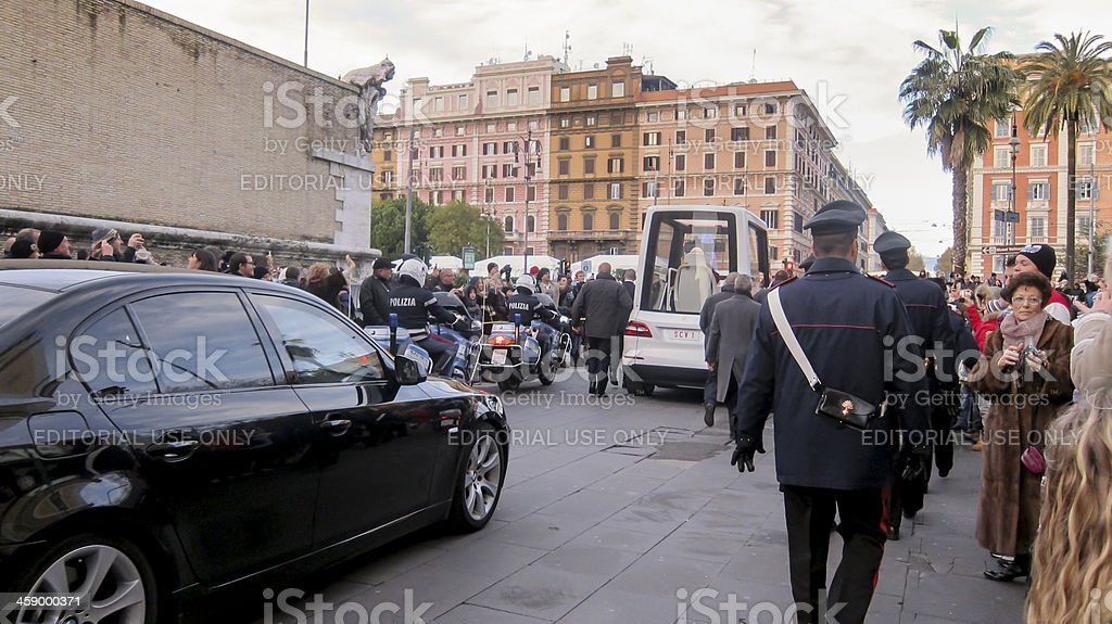 Pope Benedict XVI in the popemobile royalty-free stock photo