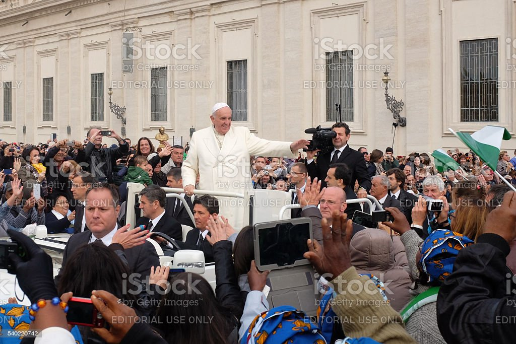 Pope Francis at general audience stock photo