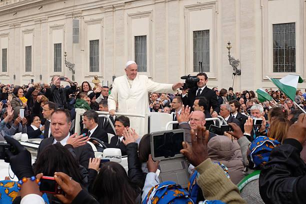 pope francis at general audience - pope francis stok fotoğraflar ve resimler