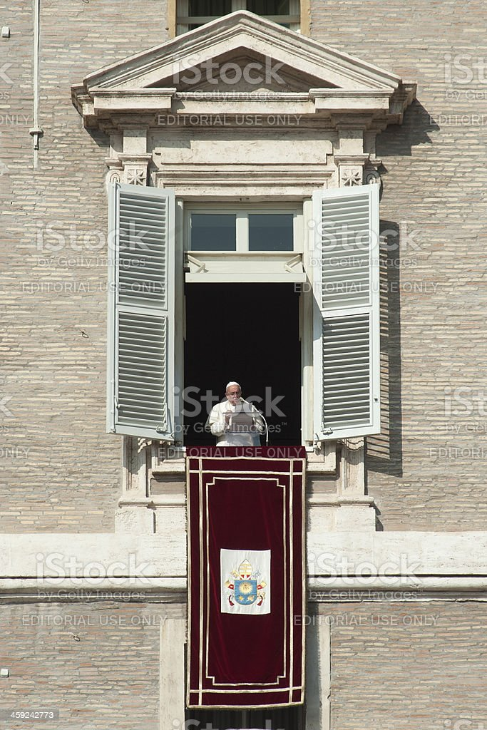 Pope Francis during Angelus stock photo