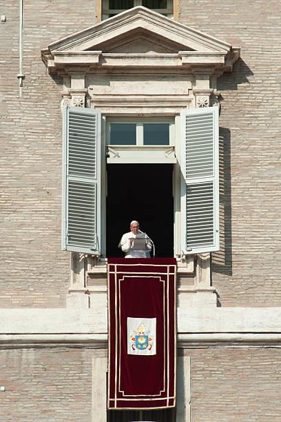 pope francis during angelus - pope francis stok fotoğraflar ve resimler
