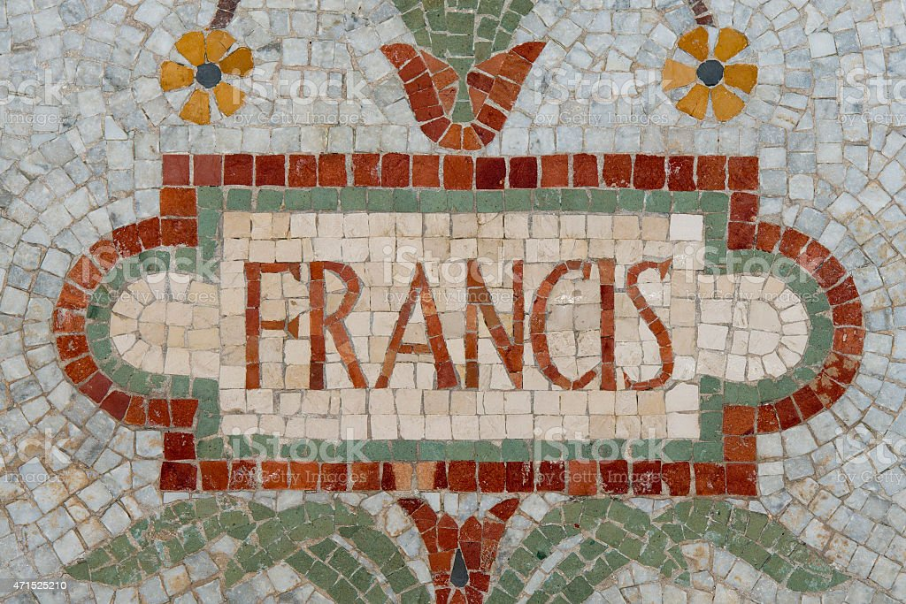 Pope Francis name in red mosaic patchwork stock photo