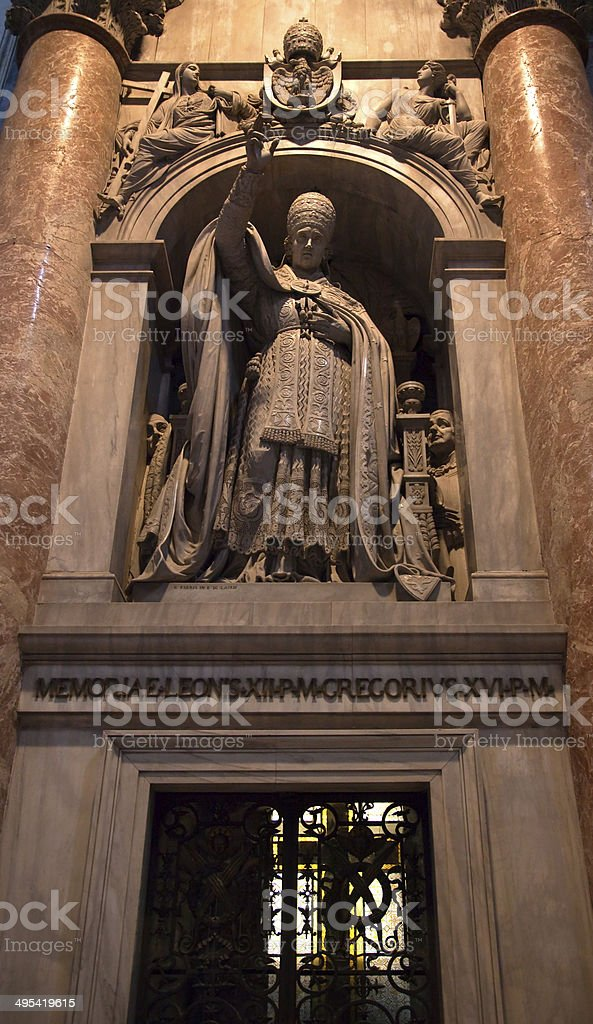 Pope Gregory Sculpture Vatican Rome Italy stock photo
