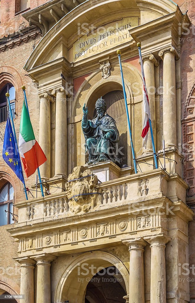 Pope Gregory XIII statue, Bologne stock photo