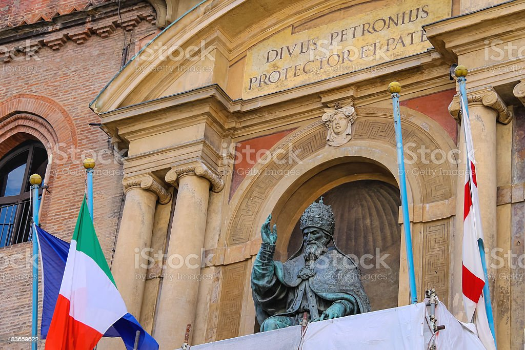 Pope Gregory XIII statue on facade of the Palazzo Comunale stock photo