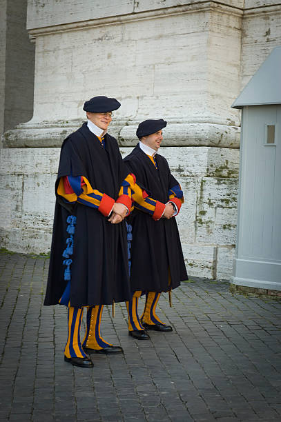 Pope Swiss guards stock photo