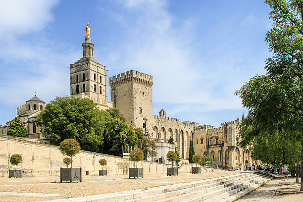 Popes Palace in Avignon, France stock photo