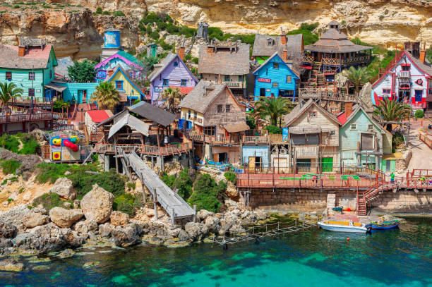 popeye village malta - rocky coastline stock pictures, royalty-free photos & images