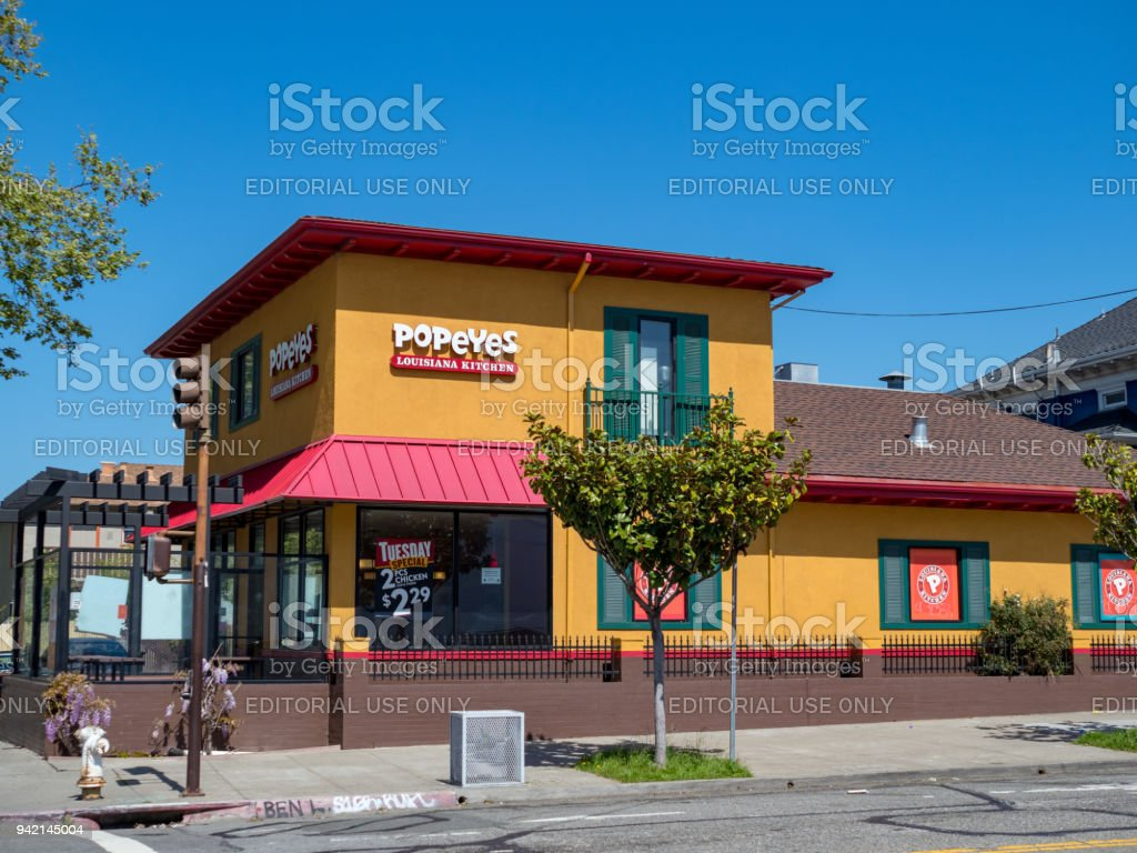 Popeyes fast food restaurant in Berkeley, California stock photo