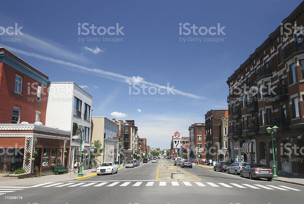 Poplular Urban Montreal Avenue stock photo