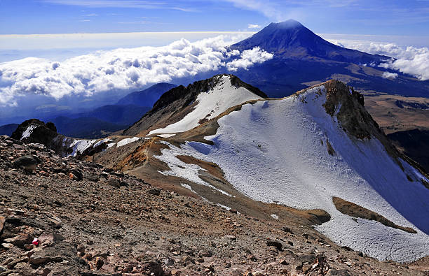 Popocatepetl Volcano, as viewed from Iztaccihuatl, Mexico Popocatepetl Volcano, as viewed from Iztaccihuatl, Mexico orizaba stock pictures, royalty-free photos & images