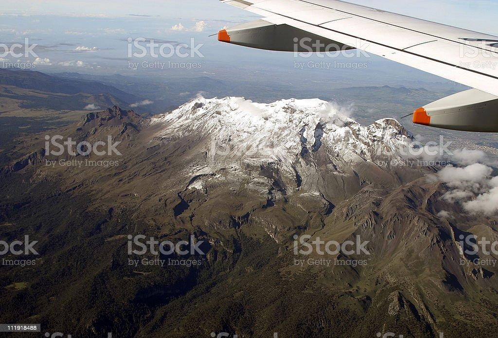 Popocatepetl volcano, Mexico from plane stock photo