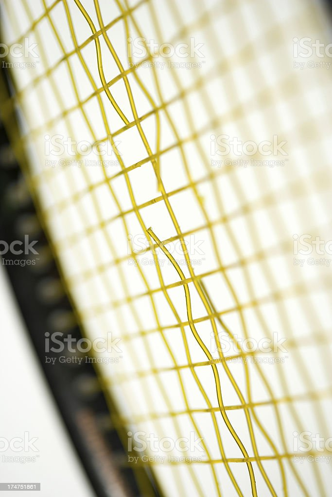 Popped Tennis Racquet strings stock photo