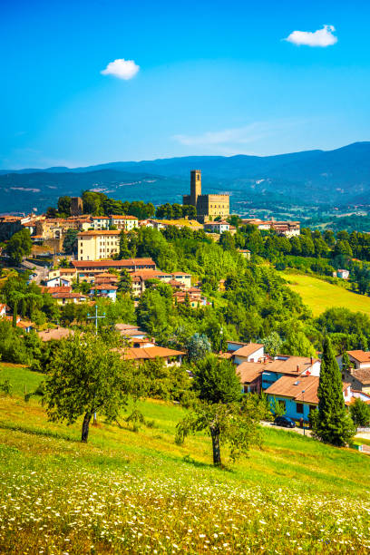 Poppi medieval village panoramic view. Casentino Arezzo, Tuscany Italy Poppi medieval village and castle panoramic view. Casentino Arezzo, Tuscany Italy Europe. arezzo stock pictures, royalty-free photos & images