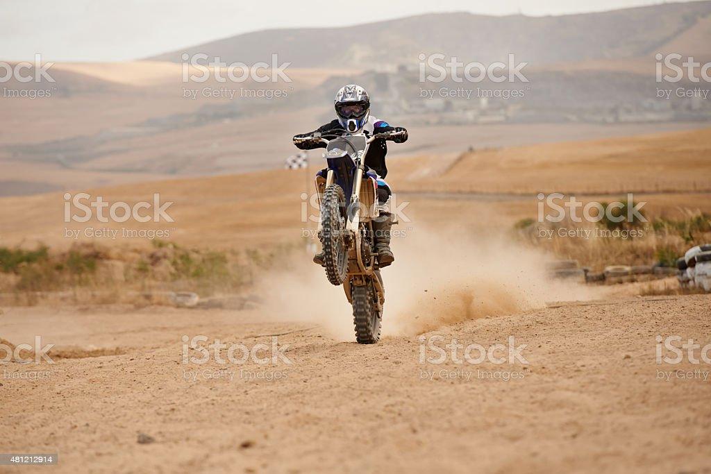 Popping a wheelie stock photo
