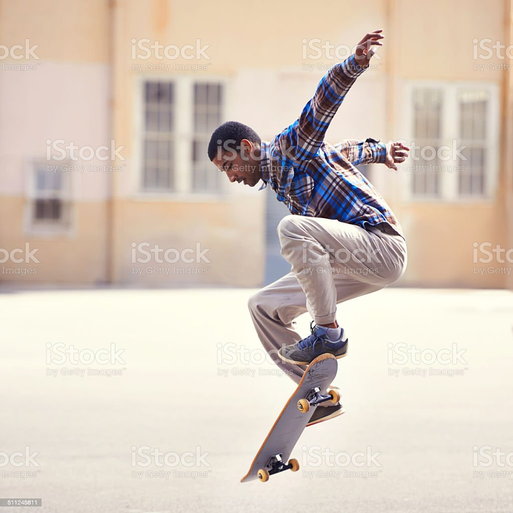 Popping an ollie stock photo