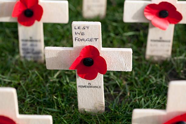 Poppy Crosses in the Field of Remembrance, Edinburgh stock photo