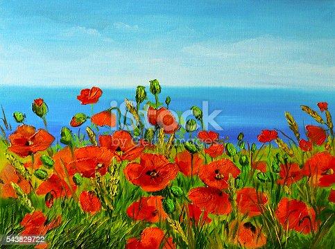 649796262istockphoto poppy field near the sea, colorful coast, art oil painting 543829722