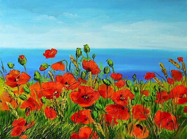 poppy field near the sea, colorful coast, art oil painting - schönen abend bilder stock-fotos und bilder