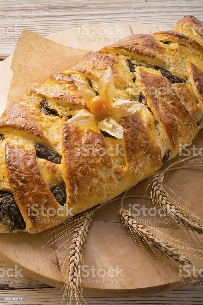 poppy - marzipan plaited loaf stock photo
