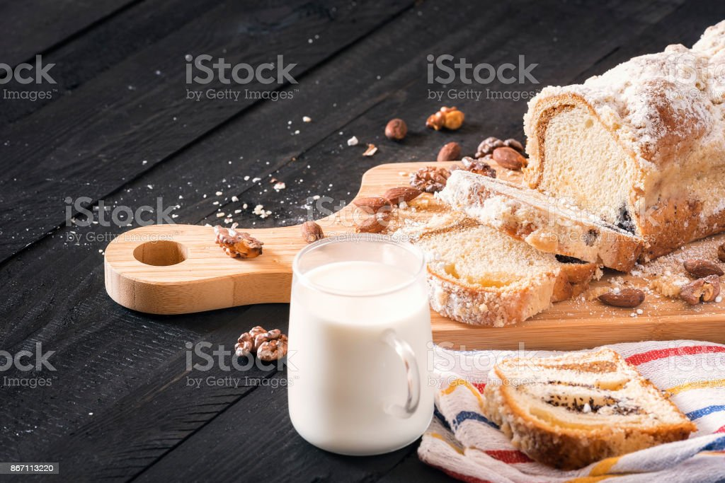 Poppy seeds cake and cup of milk stock photo