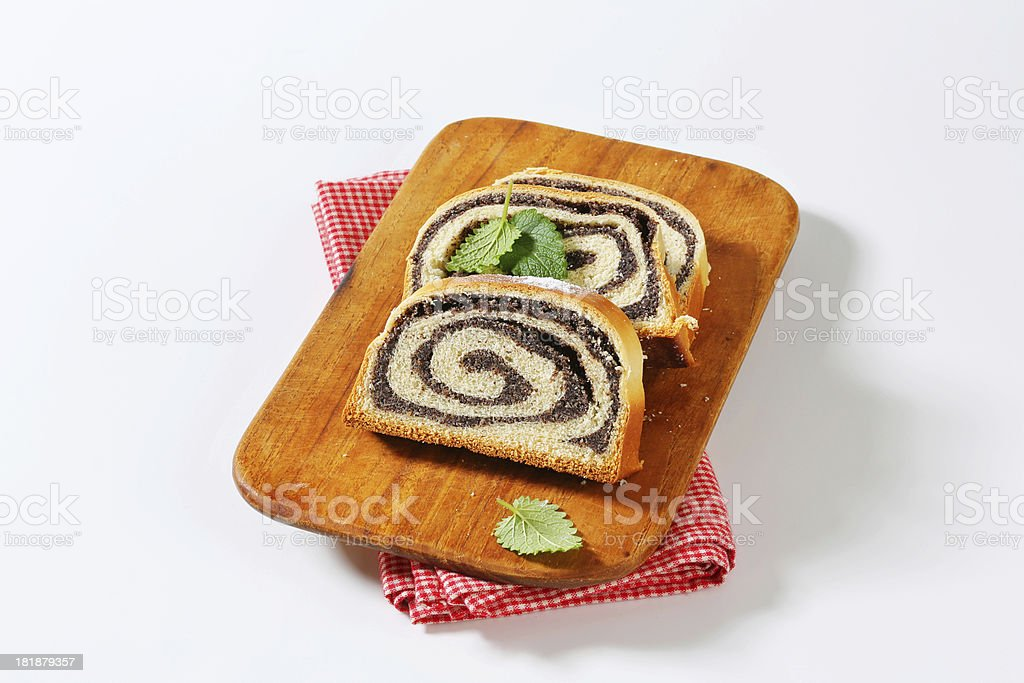 poppy swiss roll slices royalty-free stock photo