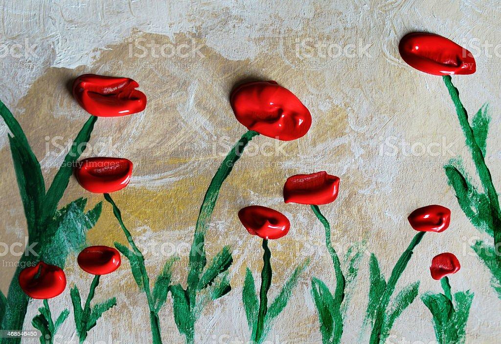 Poppys acrylics painting. stock photo