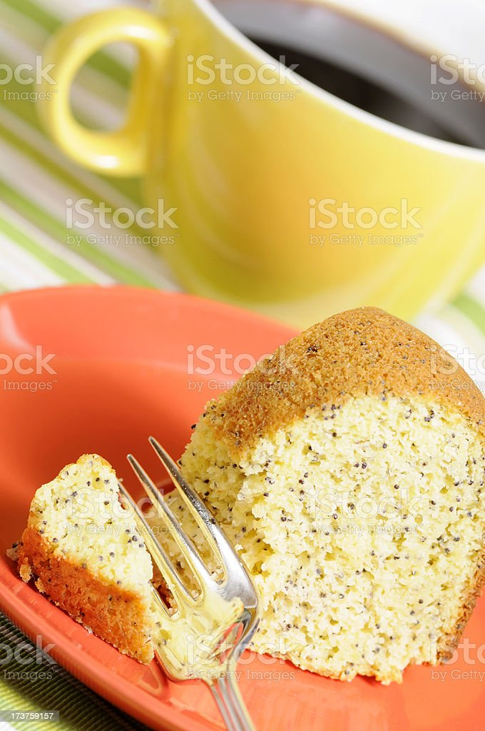 Poppyseed Cake and Coffee royalty-free stock photo