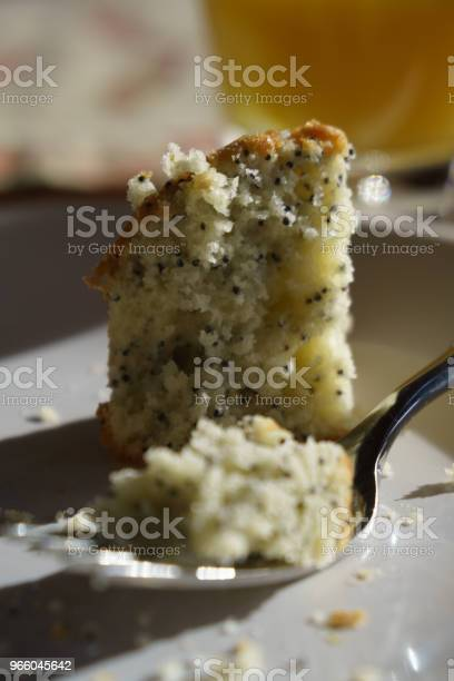 Poppyseed Muffin On Plate Stock Photo - Download Image Now