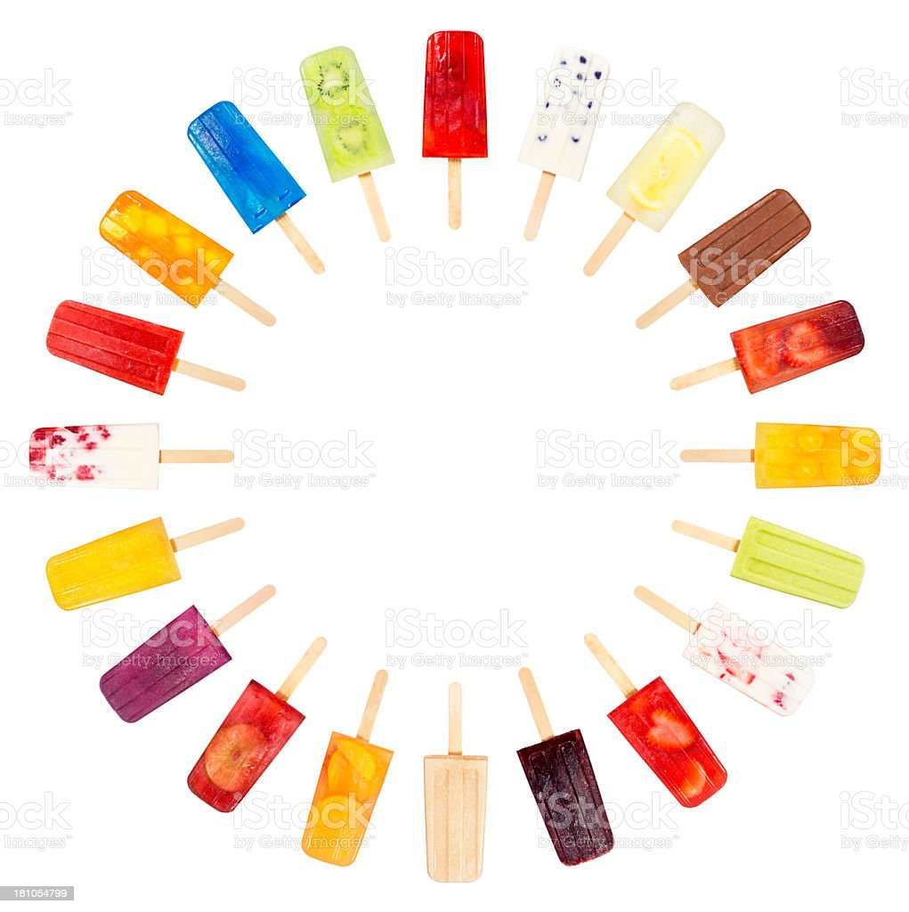 Popsicle or Ice Lolly Circle on White Background stock photo