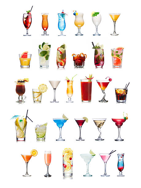 Popular alcoholic cocktails isolated on white Set of isolated cocktails and mocktails with fruits in highball glasses. Garnished, decorated, colorful, clean,vivid colors. World popular screwdriver drink stock pictures, royalty-free photos & images