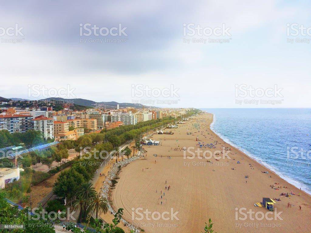 Popular beaches of Catalonia. Spain stock photo