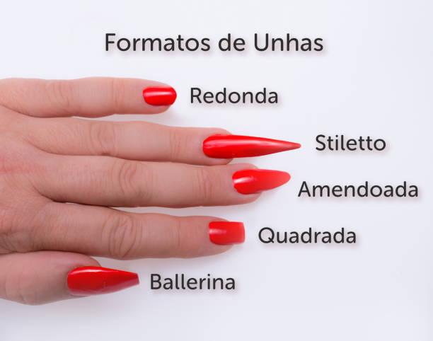 populäre brasilianische fingernagel formen - nails stiletto stock-fotos und bilder