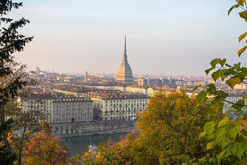 Popular city view of Turin (Torino) at sunset