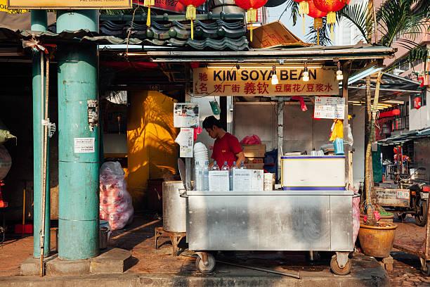 Popular family soya stall, Chinatown, Kuala Lumpur, Malaysia stock photo