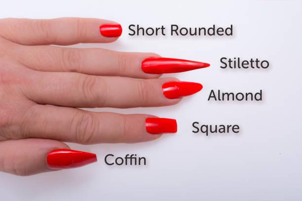 beliebte fingernagel formen - nails stiletto stock-fotos und bilder