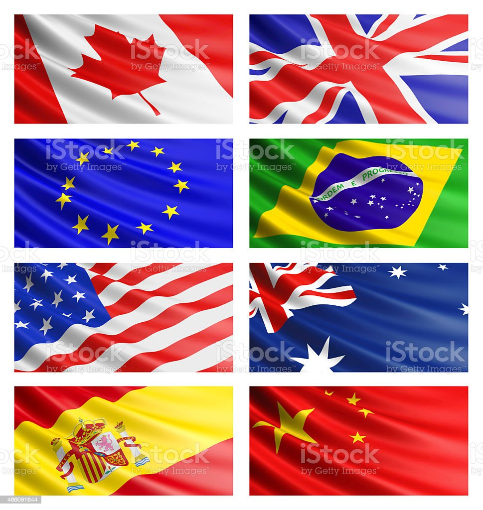 Popular flags collection. stock photo