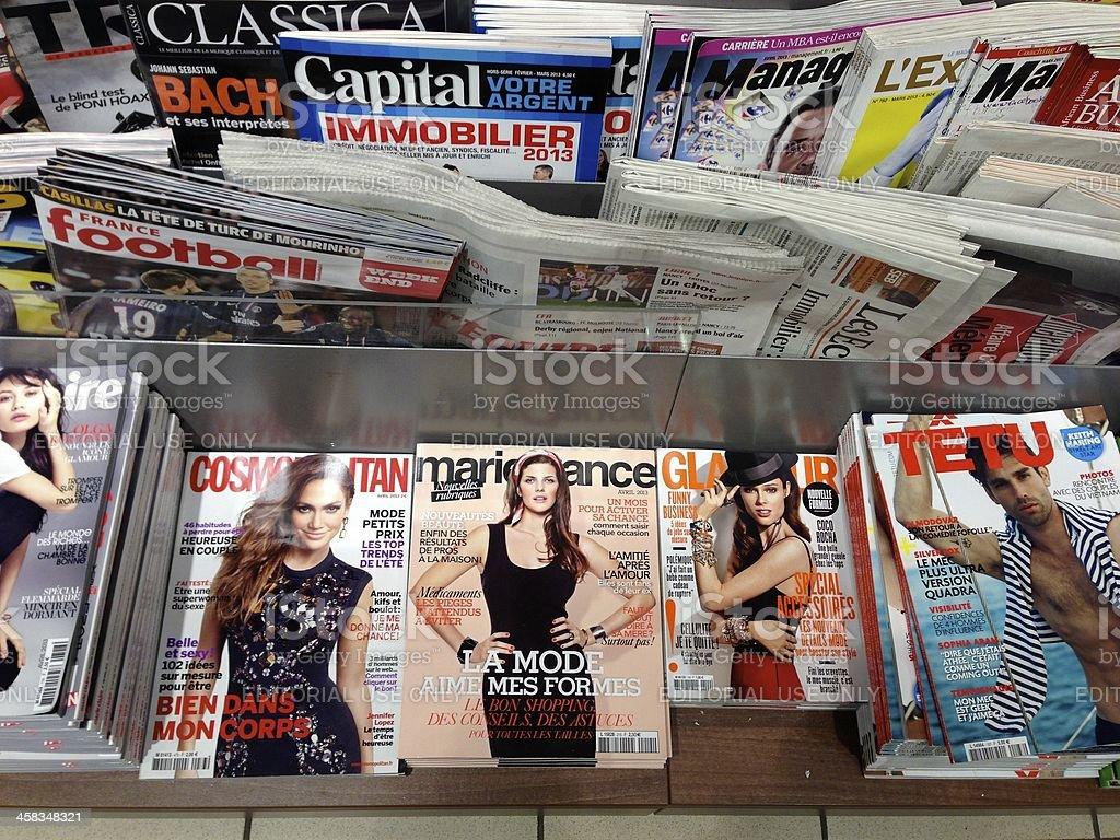 Popular french magazines royalty-free stock photo