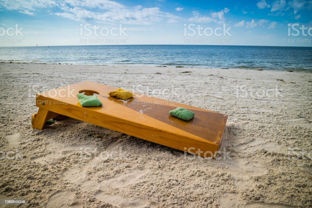 A popular game of Corn Hole in a fine weather at Fort Myers, Florida stock photo
