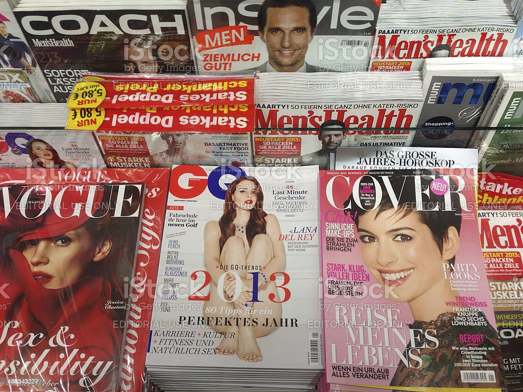 popular german fashion magazines stock photo