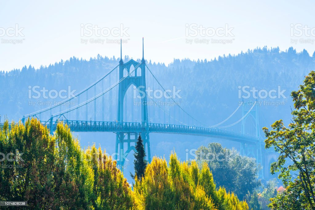 Popular gothic St Johns bridge in Portland in the colors of autumn stock photo