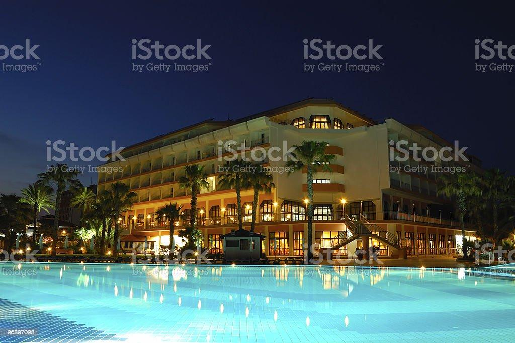 Popular hotel in night illumination, Antalya, Turkey royalty-free stock photo