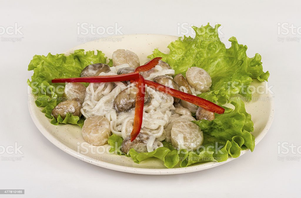 Popular Japanese Dish, with scallops and mushrooms royalty-free stock photo