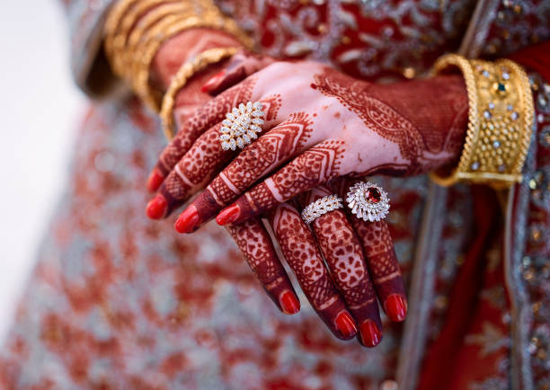 Popular Mehndi Designs for Hands or Hands painted with Mehandi Indian traditions stock photo