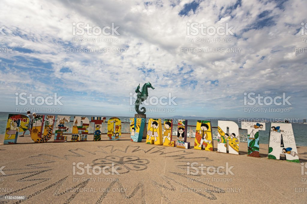 popular Puerto Vallarta sign for selfies stock photo