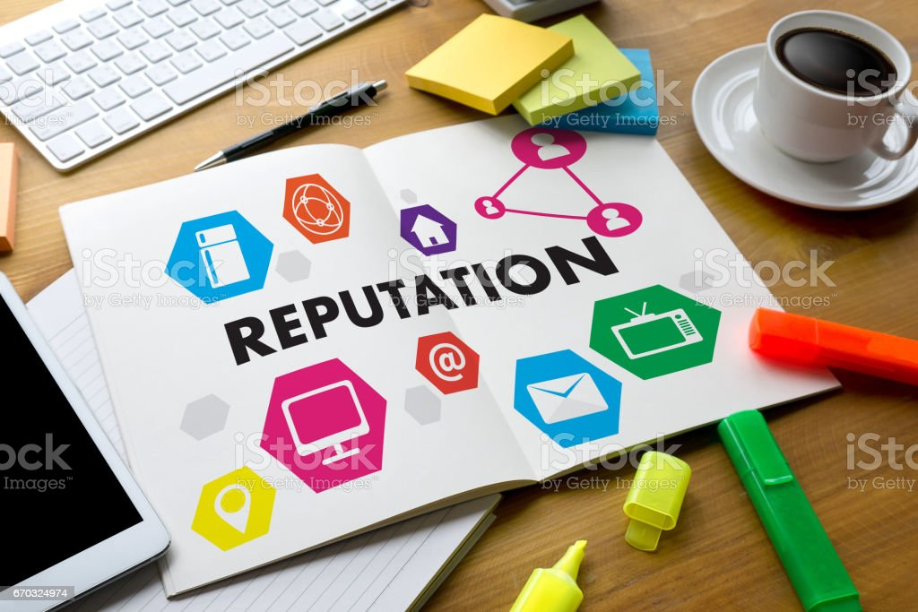 REPUTATION Popular Ranking Honor Reputation management Branding Concept stock photo