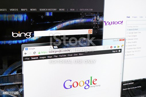Shanghai, China - May 11, 2013: Three popular search engines on screen. Google, Bing and Yahoo are trusted ISPs that are often used by Internet users to search for information they need.