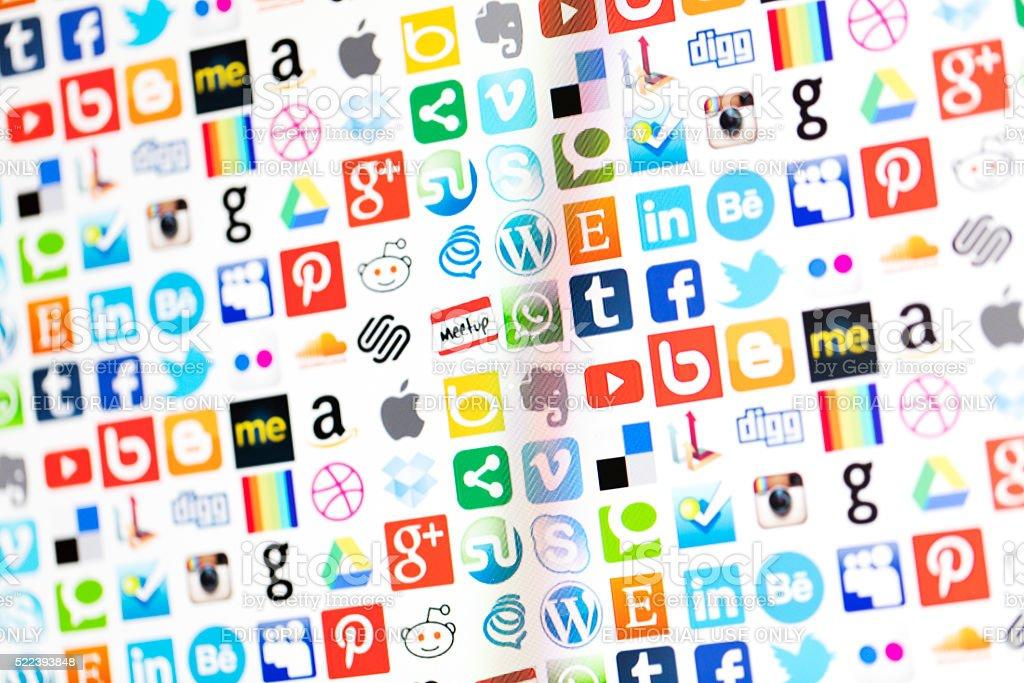 Popolari sociale media e le icone di tecnologia - foto stock
